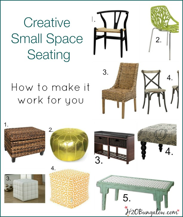 Small spaces can bring big challenges for seating.  Smart ideas for small space seating shares how to creatively increase seating in your small home when needed and use the items as home decor when not needed www.H2OBungalow.com #smallspace
