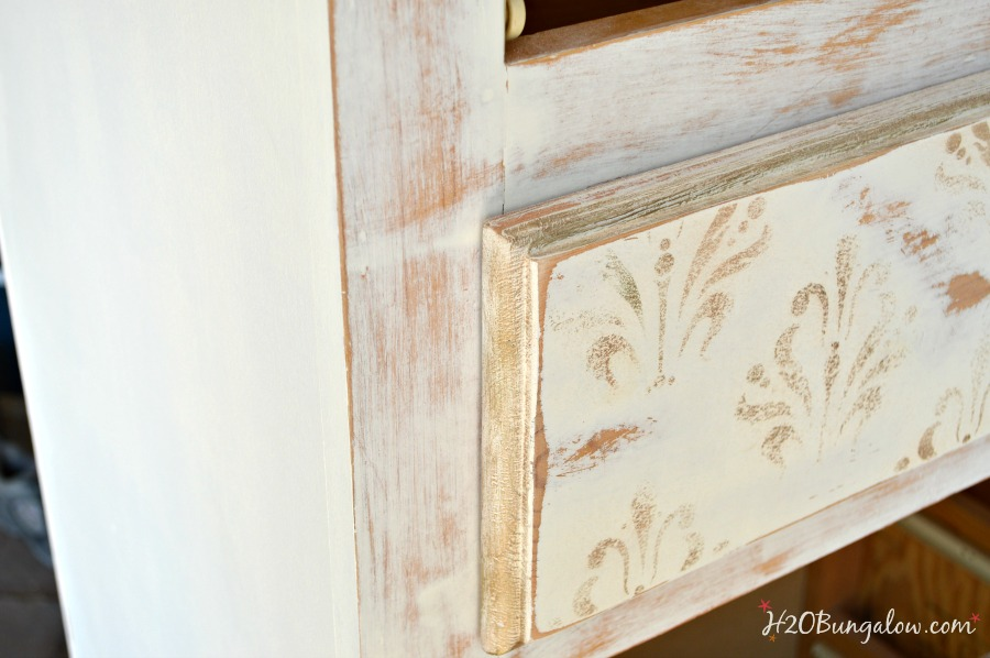 White and Gold Distressed Damask Dresser