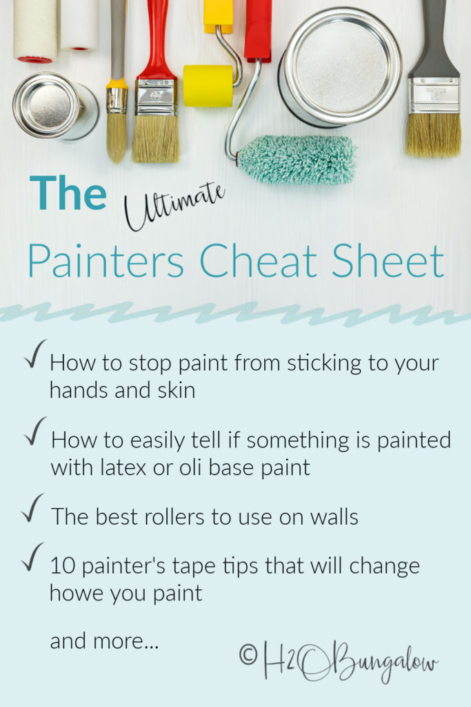 Genius painting tips and tricks that save time and money. Download tip cheetsheet for easy tips to paint home and furniture better, faster and easier. 35+ handy paint tips! #painttips #painting #DIYPaint #H2OBungalow