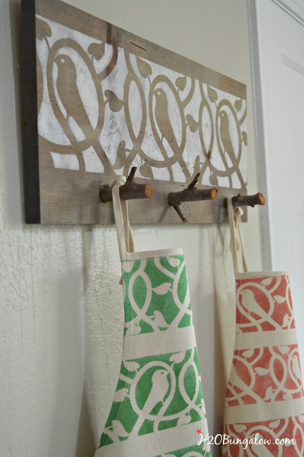 wood and tree branch apron holder