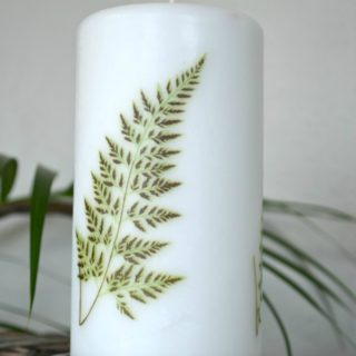 10 minute easy DIY fern image candle. Update your decor with trendy ferns. It's easy to add images to candles with this method. H2OBungalow