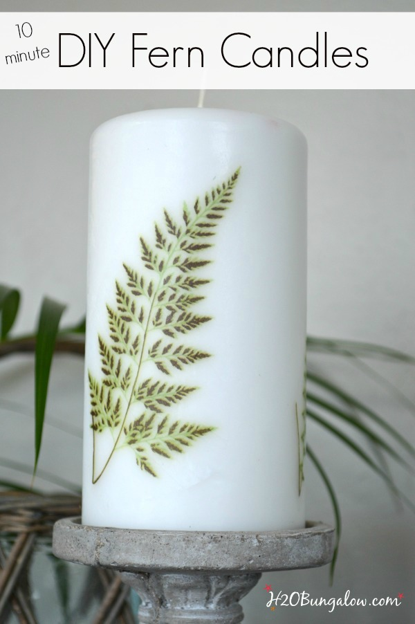 10 minute easy DIY project on how to add a fern image to an existing candle. Update your decor with trendy ferns. H2OBungalow.com
