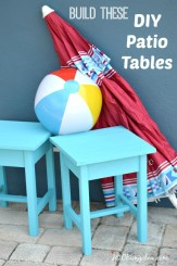 Build these easy to make outdoor Aiderondack patio tables in an afternoon for about $10 each. I share simple tips using free Anna White building Plans by H2OBungalow