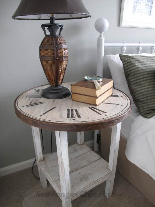 Clock face table from on old ratty table and round wood top