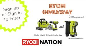 Sign up or sign in to enter to win this Ryobi tool package - ends 4/30/15