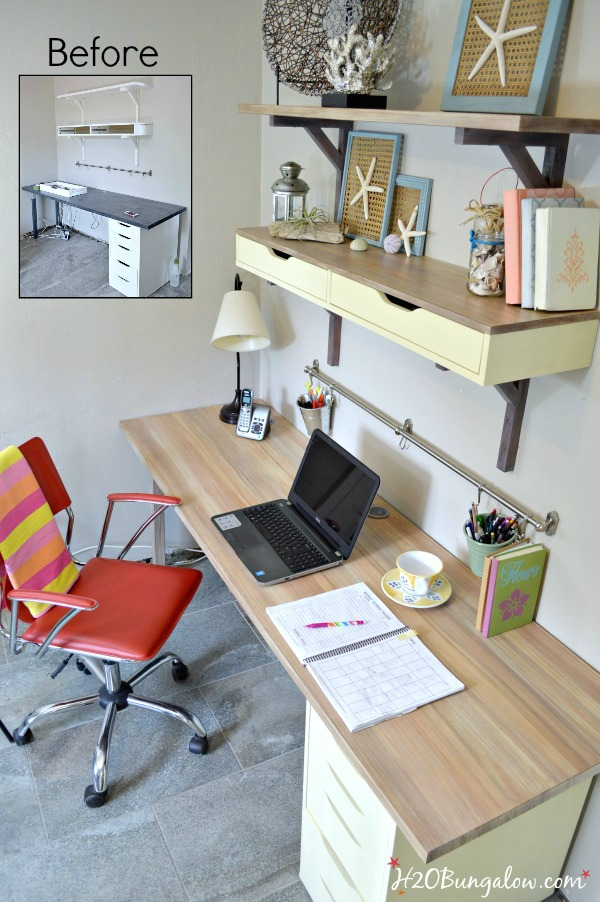 Before and after ikea desk makeover using Chalky Finish Paint By DecoArt and faux wood grainging the desktop. Simple tutorial included - H2OBungalow #paintedfurniture #paintingtutorial