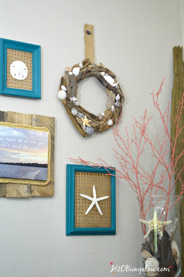 DIY Driftwood and seashell Wreath tutorial.  Creative way to use the seashells you've collected and have stashed in drawers.  Fun coastal craft  by H2Obungalow