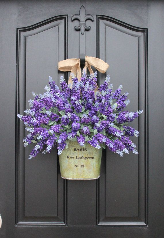 Make a lovely front door wreath with lavender in a bucket