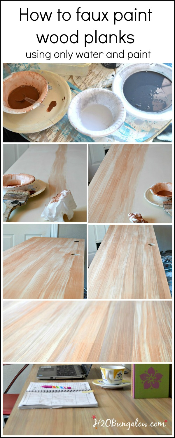 How to faux paint wood planks using paint and water aloe. Change base color to mimic cedar, hicory or another wood type. Simple! H2OBungalow #paintedfurniture #paintingtutorial