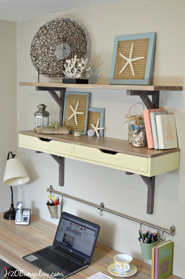 Ikea melamine desk makeover with decoArt Chalky Finish Paint by H2OBungalow