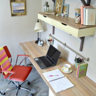 Ikea desk makeover with faux wood grain top using DeoArt Chalky Finish Paint -H2OBungalow #tutorial #paintedfurniture