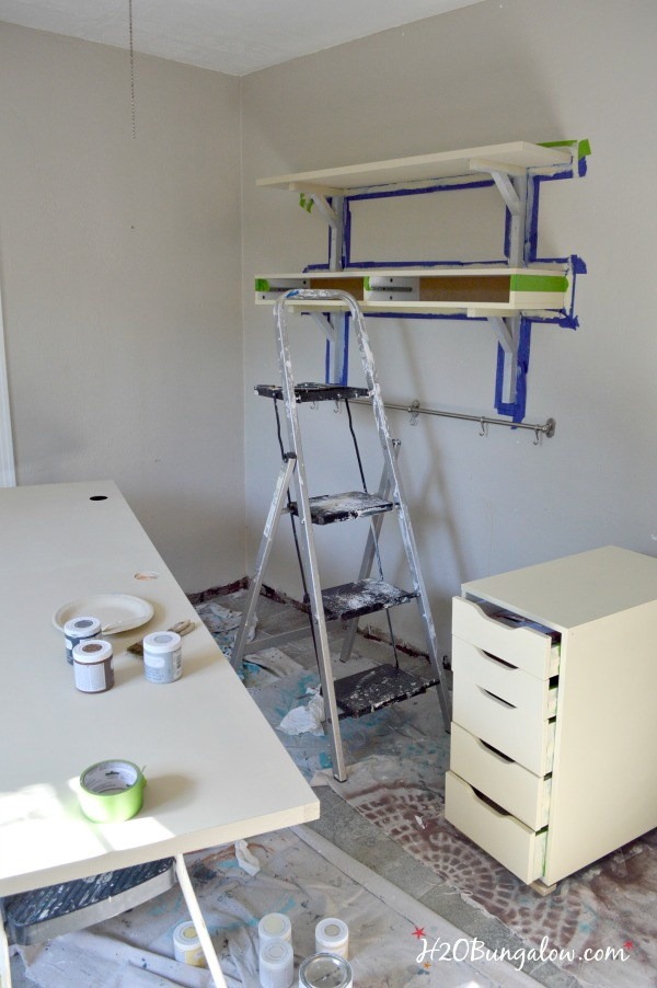 Ikea desk makeover with faux wood plank top H2OBugalow