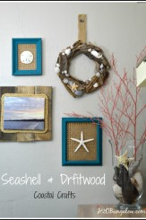 Seashell and driftwood coastal crafts. Wall art, driftwood and shell wreath and coatsal photo art. Part of the Seashell Craft Tour 3 days , 12 bloggers linking fantastic projects H2OBungalow