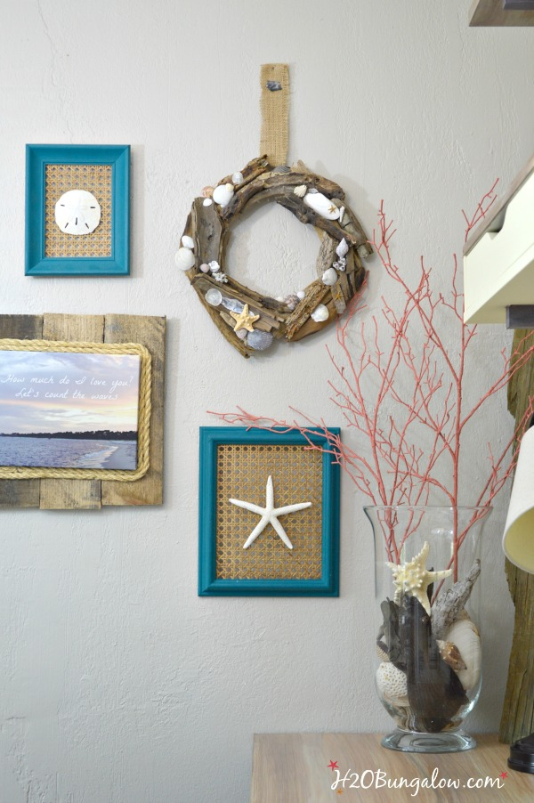 Seashell driftwood wreath and gallery wall of coastal seashell art with tutorial.  Linked to 12 other creative bloggers best seashell crafts  #seashellcrafts H2OBungalow