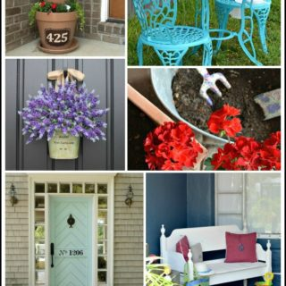 Seven easy outdoor projects you can do in a day . Easy ideas for spring front door decor and curb appeal that are budget friendly. H2OBungalow #frontporchideas #curbappeal #frontdoor