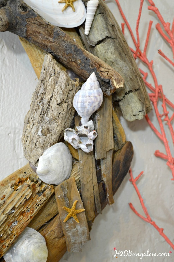 DIY coastal wall art using seashells and driftwood by H2OBungalow