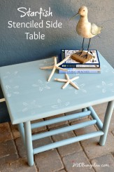 Starfish stenciled side table for the monthly Themed Furniture Day #paintedfurniture
