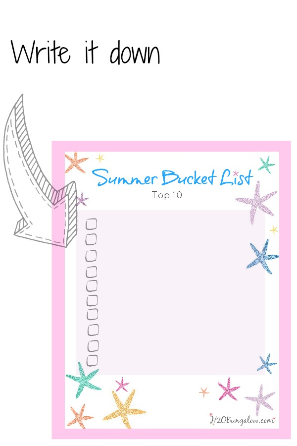 Bucket list for summer with free printable by H2OBungalow