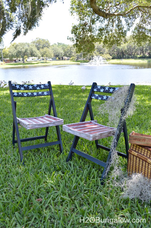 Red white and blue DIY patriotic chair makeover for the patriotic bloggers tour. See this and about 50 more fabulous red white and blue projects you can make all linked to this post H2OBungalow