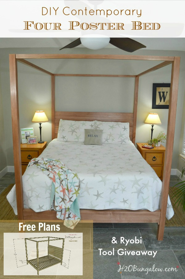 DIY Queen bed plan and a Ryobi tool giveaway.  Sign up or sign in to enter.  Giveaway open until 6/30/15 by H2OBungalow.com #giveaway