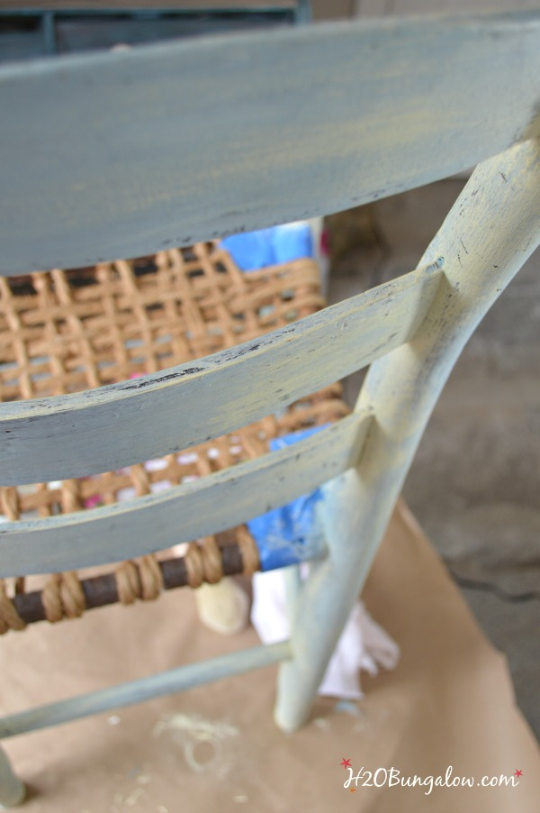 Painted layers of costal colors on a jute seat vintage chair H2OBungalow