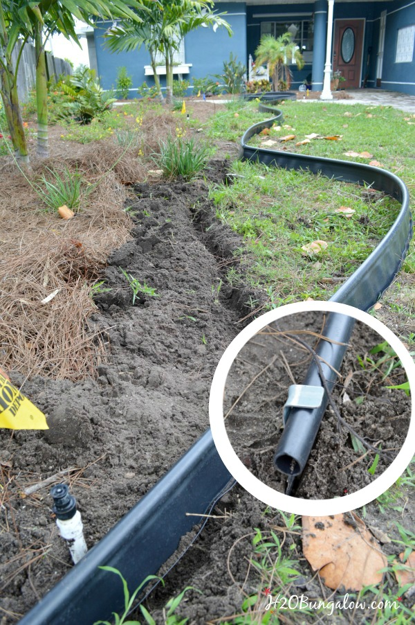 install border with clips around the edge of the butterfly garden H2OBungalow