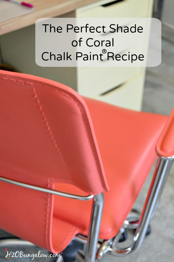 Color recipe to blend the perfect shade of coral using Chalk Paint and a tutorial on painting leather furniture by H2OBungalow #paintedfurniture #chalkpaint