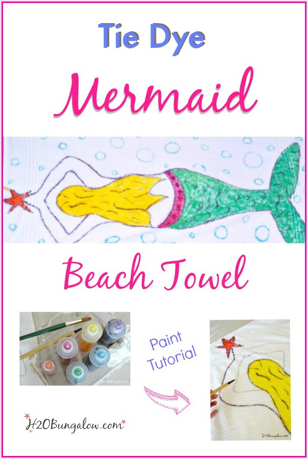 Tie dye mermaid beach towel using the painting technique with Tulip Tie Dye. Tutorial by H2OBungalow