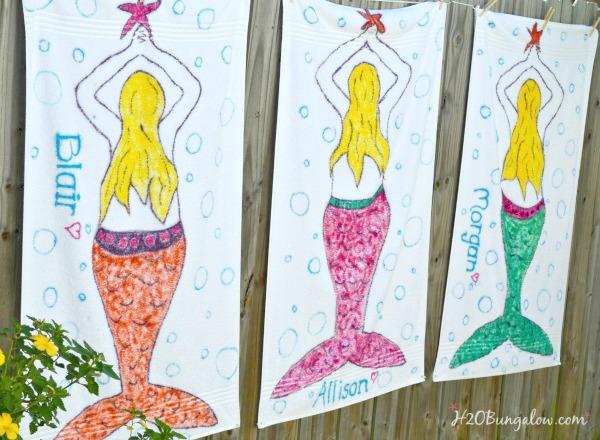 Tie dye mermaid beach towels and tutorial by H2OBungalow