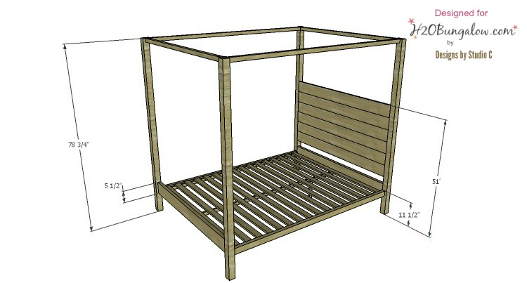 Bed plans for contemporary four poster queen bed -H2OBungalow