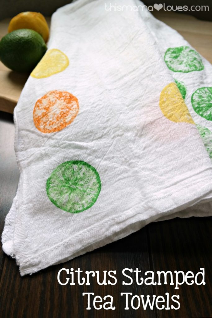 DIY Sunday Showcase feature Citrus Stamped Tea Towels by This Mama Loves