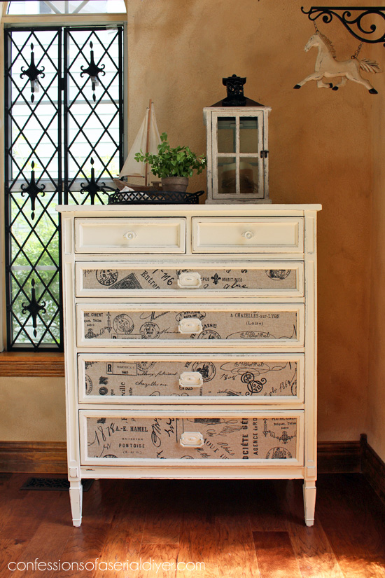 DIY Sunday Showcase weekly feature Fabric Inlaid Dresser from Confessions of a Serial DIYer.  Click over to see the rest of this weeks fabulous features!   www.H2OBungalow.com