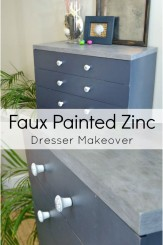 masculine dresser makeover with faux painted zinc dresser top and vintage nautical drawer pulls transformed a raggy MCM piece into a gorgeous show stopper H2OBungalow.com #paintedfurniture #industrialfurniture #vintagenautical