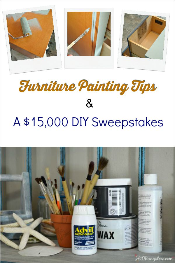 Furniture painting tips by H2OBungalow with a huge sweepstakes offer from Advil H2OBungalow.com #ad, #sponsored