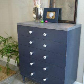 Nautical vintage dresser with faux painted zinc top H2OBungalow
