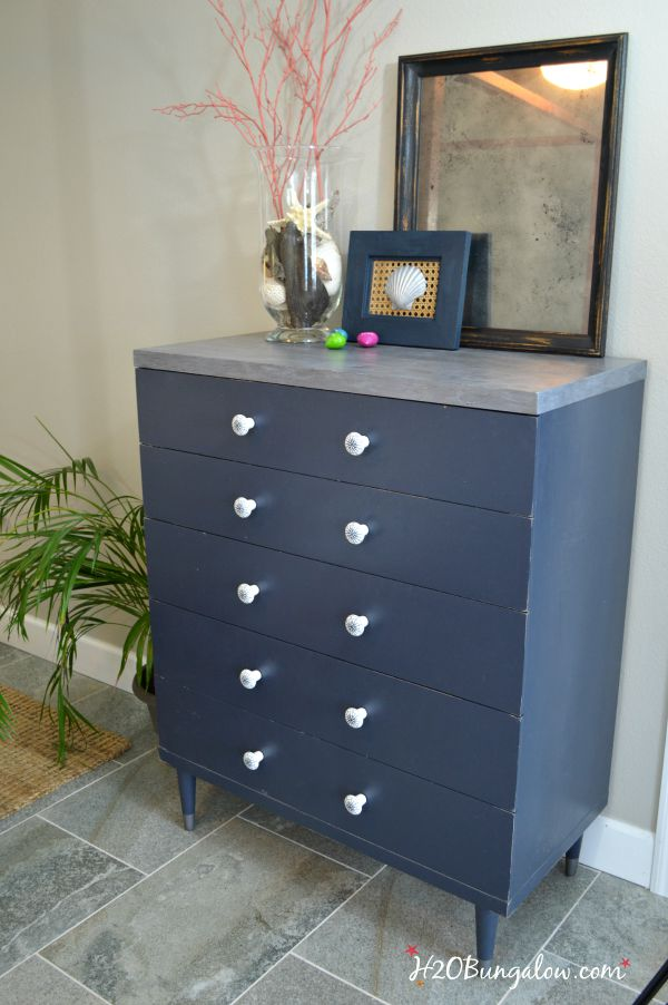 Nautical vintage dresser with faux painted zinc top H2OBungalow