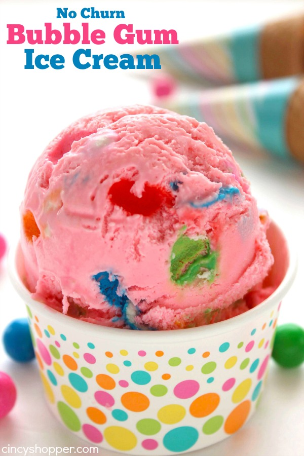 No Churn Bubble Gum Ice Cream DIY Sunday Showcase