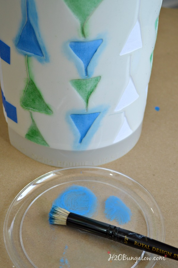 Apply paint to stenciled DIY lampshade one color at a time  Stencil a lampshade tutorial  by H2OBungalow