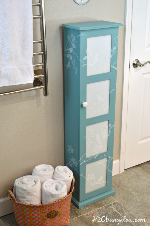 Frosted Glass Bath Storage Cabinet Makeover