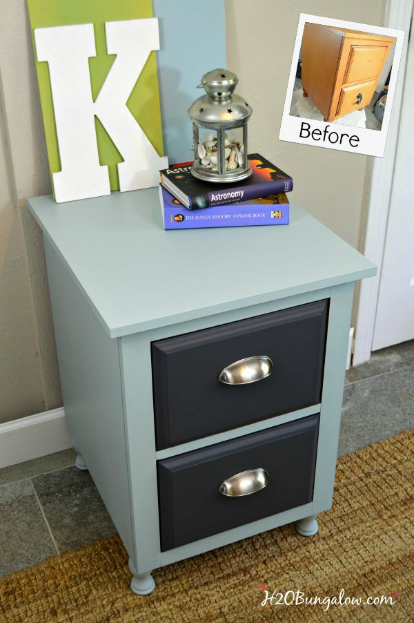 Befors and fter nightstand makeover H2OBungalow #paintedfurniture #makeover