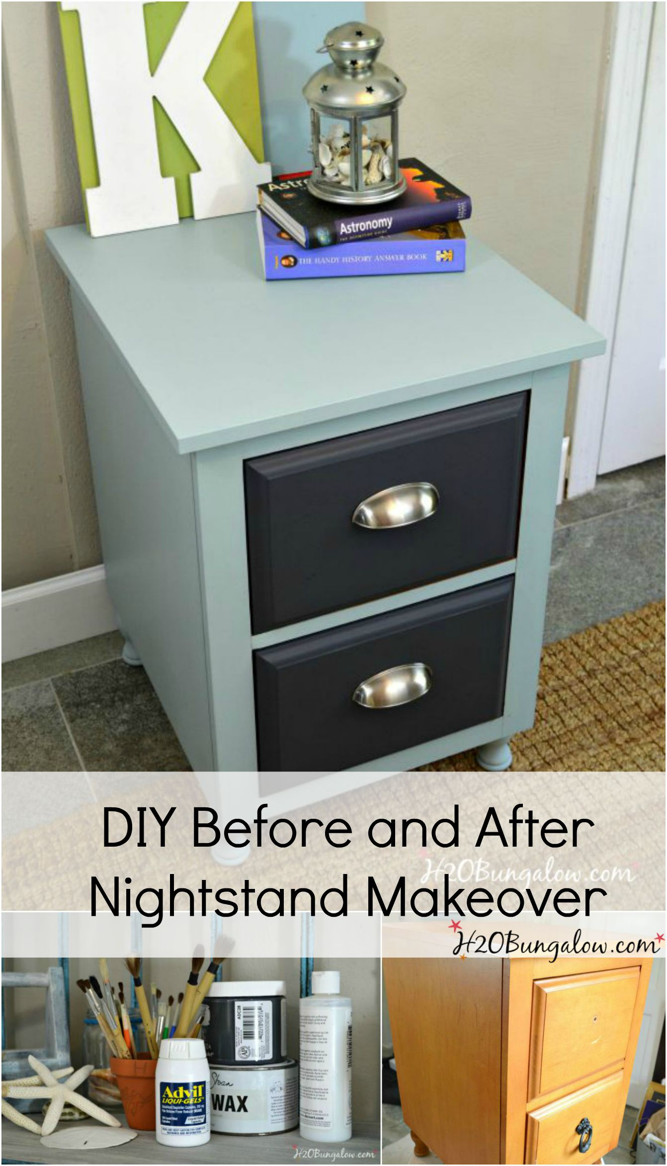 diy before and after nightstand makeover Diy Nightstand