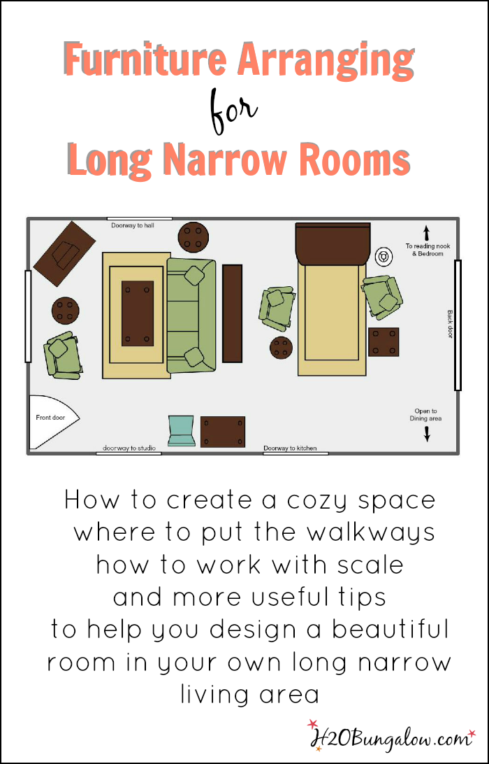 You don't need to be an interior decorator to create a beautiful space that's welcoming, intimate and comfortable. Start today using these top tips for arranging furniture in a long narrow living room. www.H2OBungalow