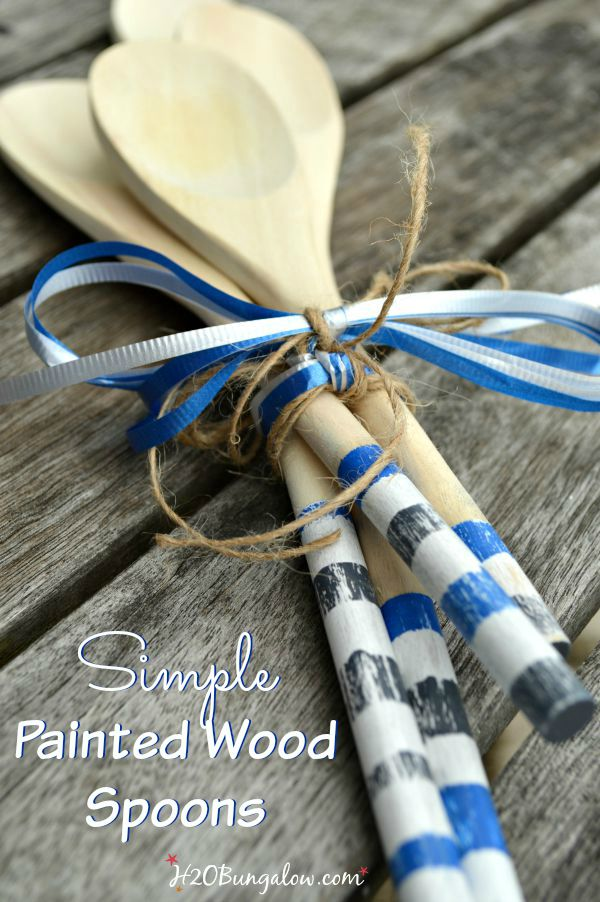 Make these simple DIY painted wood spoons and add to a summer BBQ gift basket for a special finishing touch www.H2OBungalow