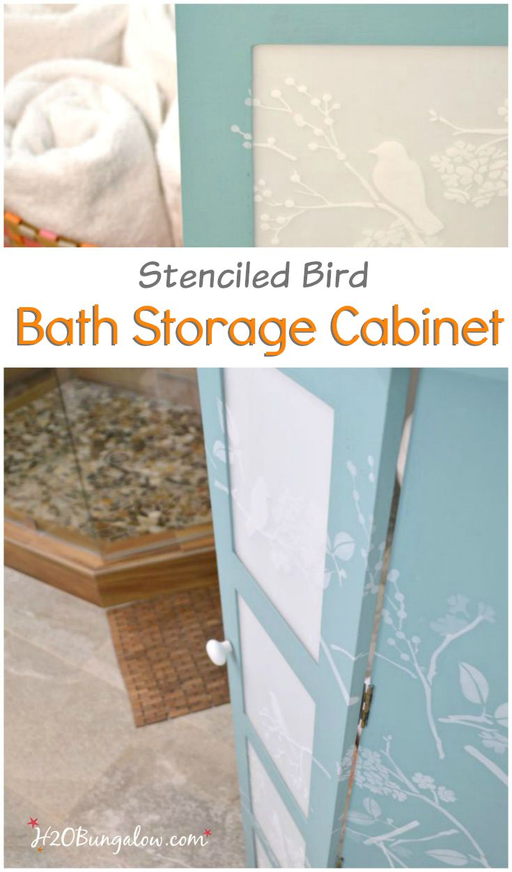 Updated bath storage cabinet with DIY frosted glass inserts and cascading stenciled birds and twigs. It looks fresh and clean look in our new master bath www.H2OBungalw.com #ThemedFurnitureMakeoverDay #paintedfurniture