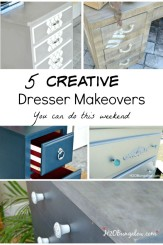 Five creative dresser makeover you can do this weekend. Grab that old dresser you've been meaning to redo, roll up your sleeves and get busy. Here are five styles and tutorials to get you motivated to finish that project! www.H2OBungalow.com #paintedfurniture #DIYtutorial