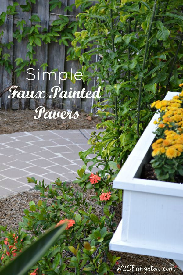 Simple faux painted paver projects transforms a plain concrete area in a few hours. Simple tutorial with video included. www.H2OBungalow.com #paintedconcrete #homeimprovement