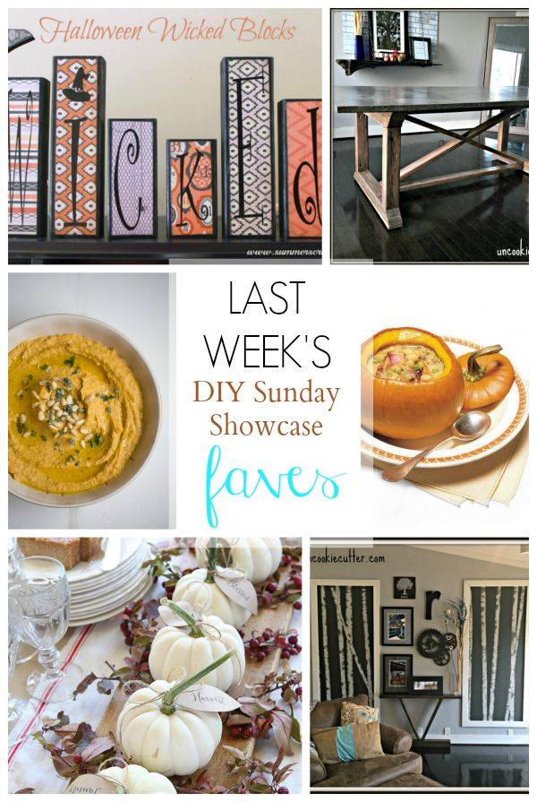 This weeks DIY Sunday Showcase features are packed with outstanding home decor and a few treats for pumpkin lovers as well.