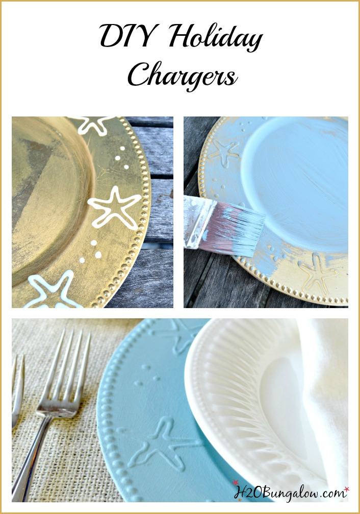 DIY table chargers are an easy project that add character and style to tabletop decor. Inexpensive and durable these are great year round. www.H2OBungalow #tabletopdecor