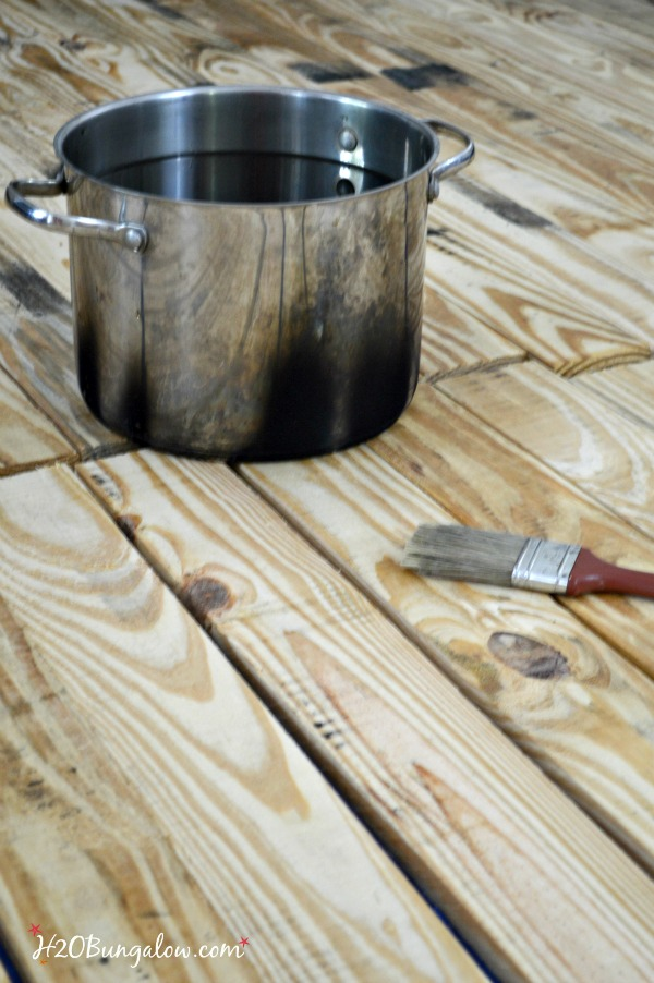 How to stain wood without chemicals, using 3 ingredients from your kitchen. tea, vinegar and steel wool - H2OBungalow.com