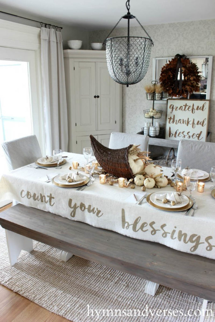 Count your blessings tablecloth with cornucopia with pumpkins and fall floral